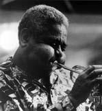 Dizzy Gillespie playing trumpet