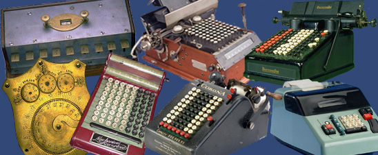 An image displaying several adding machines from the Division of Medicine and Science.