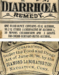 Top: Chamberlain's Colic and Diarrhea Remedy ; Bottom: May's Health Pearls