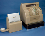 A selection of cash registers exemplifying their technological development from 1878 until 1970.