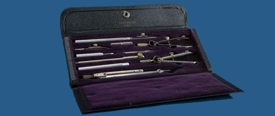 A Eugene Dietzgen Company set of drawing instruments.