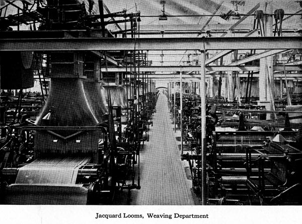 Illustration of the weave room at one of Duplan Silk Co's mills