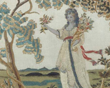 Embroidered image of Roman lady, with her three children, is depicted with a seated Roman matron holding a box of jewels