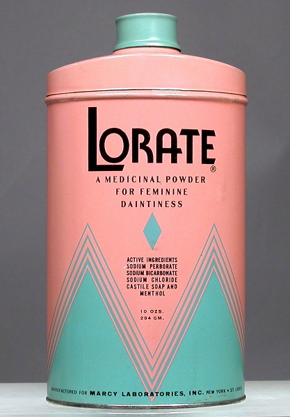 a can of Lorate douche powder