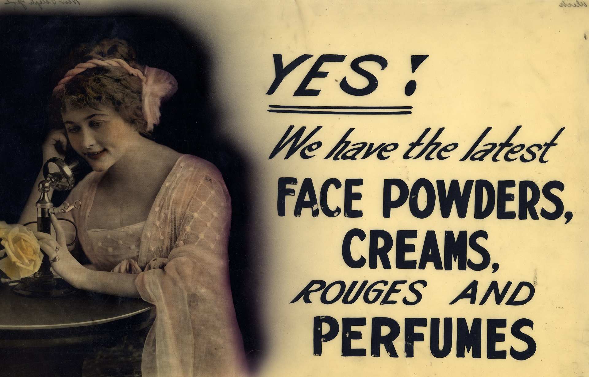 A shop window advertising sign depicting a pale-complected, red-lipped  beauty idealized at the start of the 20th century. Warshaw Collection of  Business ...