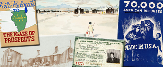 Collage of objects and documents related to history of Japanese American Incarceration
