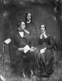 George Perkins Marsh, seated at the left, was a Whig Congressman from Vermont, 1843-1849, as well as a U.S. minister to Turkey and Italy. Caroline Crane Marsh: Marsh's second wife, was a writer and is seated. Lucy Crane: sister of Caroline Crane Marsh, stands.