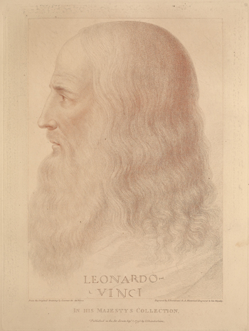 Self-portrait of Leonardo da Vinci, engraved by F. Bartolozzi, 1795, from the original drawing in the collection of King George III. Published in J. Chamberlaine, Original designs of the most celebrated masters… in His Majesty's Collection. (London: 1812).