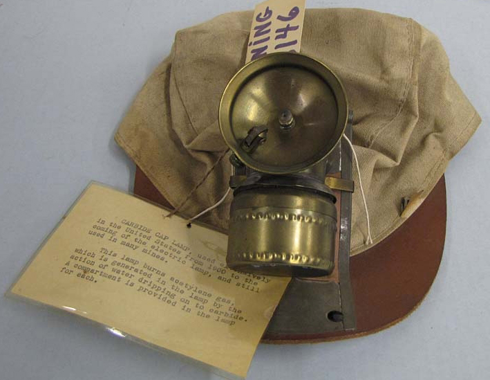 Image of a Soft cap with Carbide Lamp