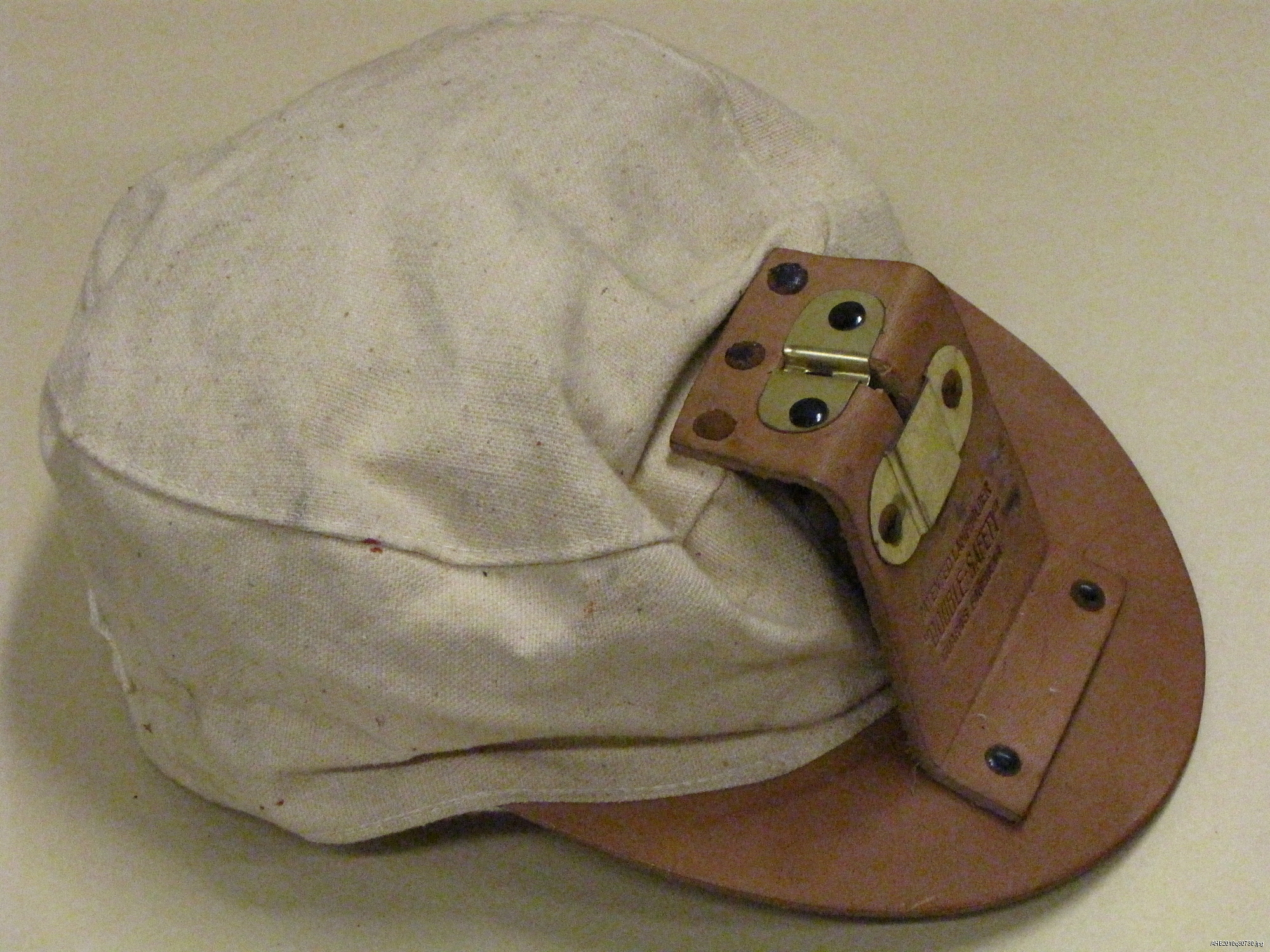 f1b8249d02b57 Canvas mining cap with leather brim