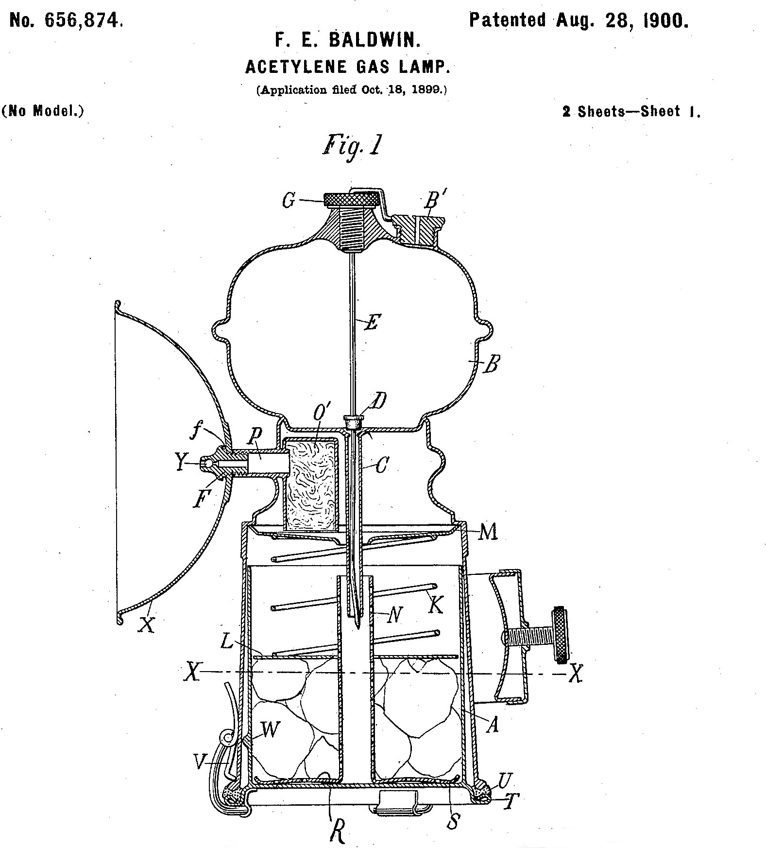 Charming Frederick Baldwinu0027s Patent Drawing For An Acetylene Gas Lamp