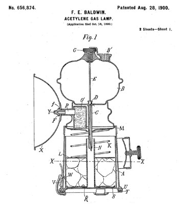 Frederick Baldwin's Patent Drawing for an acetylene gas lamp