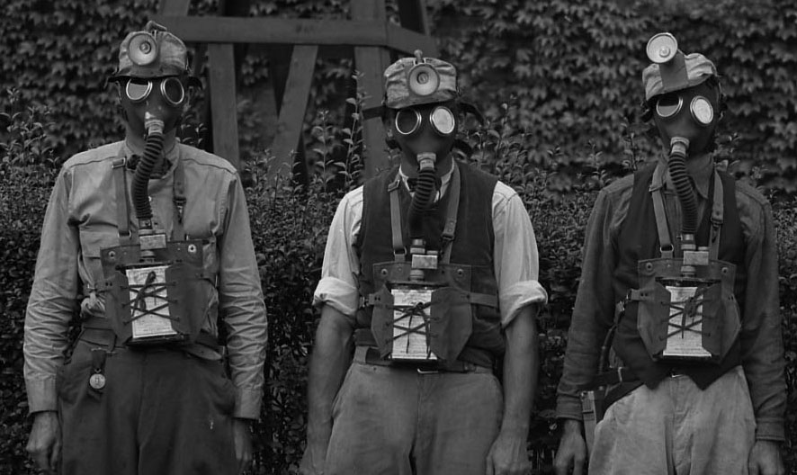 Image of Consolidated Coal Miners Wearing Edison Cap Lamps and MSA Breathing Apparatus
