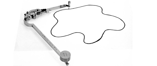 A planimeter with a closed curve.