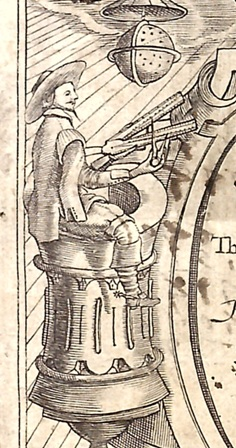 17th-century Englishman making calculations with a sector and dividers, from Edmund Gunter's 1623 De sector & radio.
