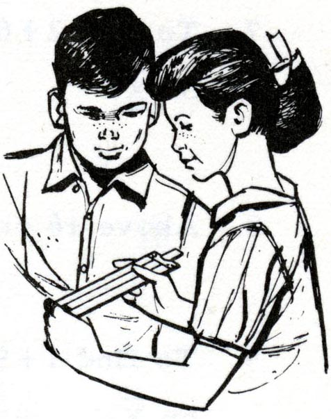 Drawing of boy and girl using slide rule