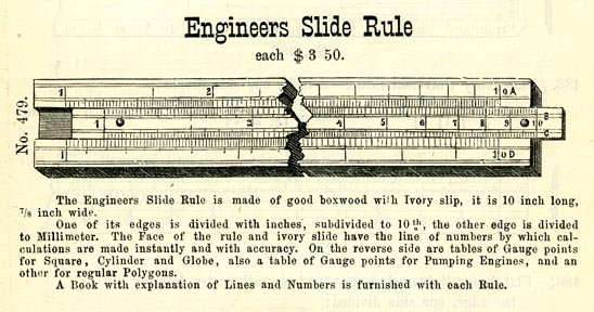 Image of an advertisement for an Engineers Slide Rule