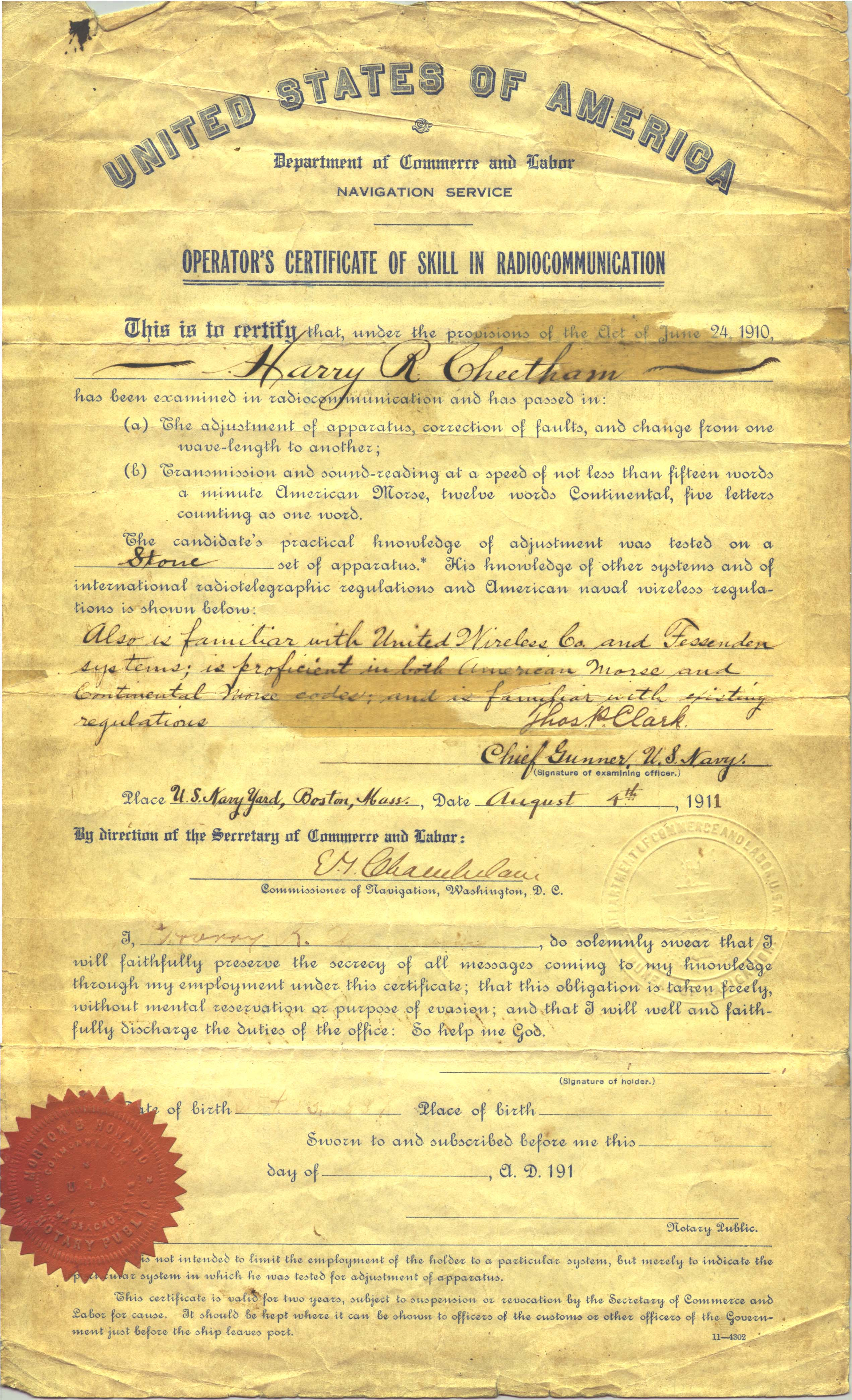 A picture of Harry Cheetham's Radio License
