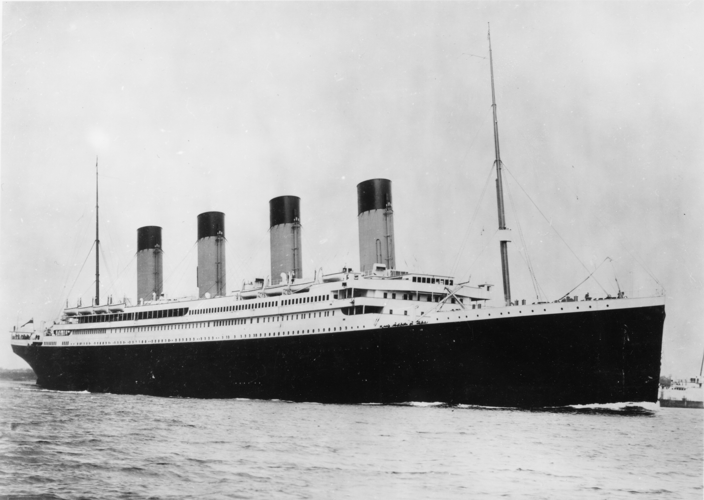 Photograph of the Titanic leaving the port Southampton