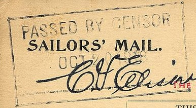 Sailors' Mail Frank and Censor Mark