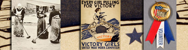 Collage of photos and objects related to women's service during World War One