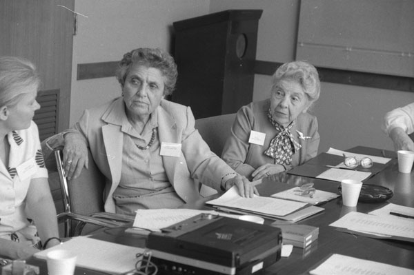 Image of Jeanne LaDuke in August 1981 with the youngest and oldest honorees: Marion Greenebaum Epstein (b. 1915) and Nola Anderson Haynes (1897-1996).
