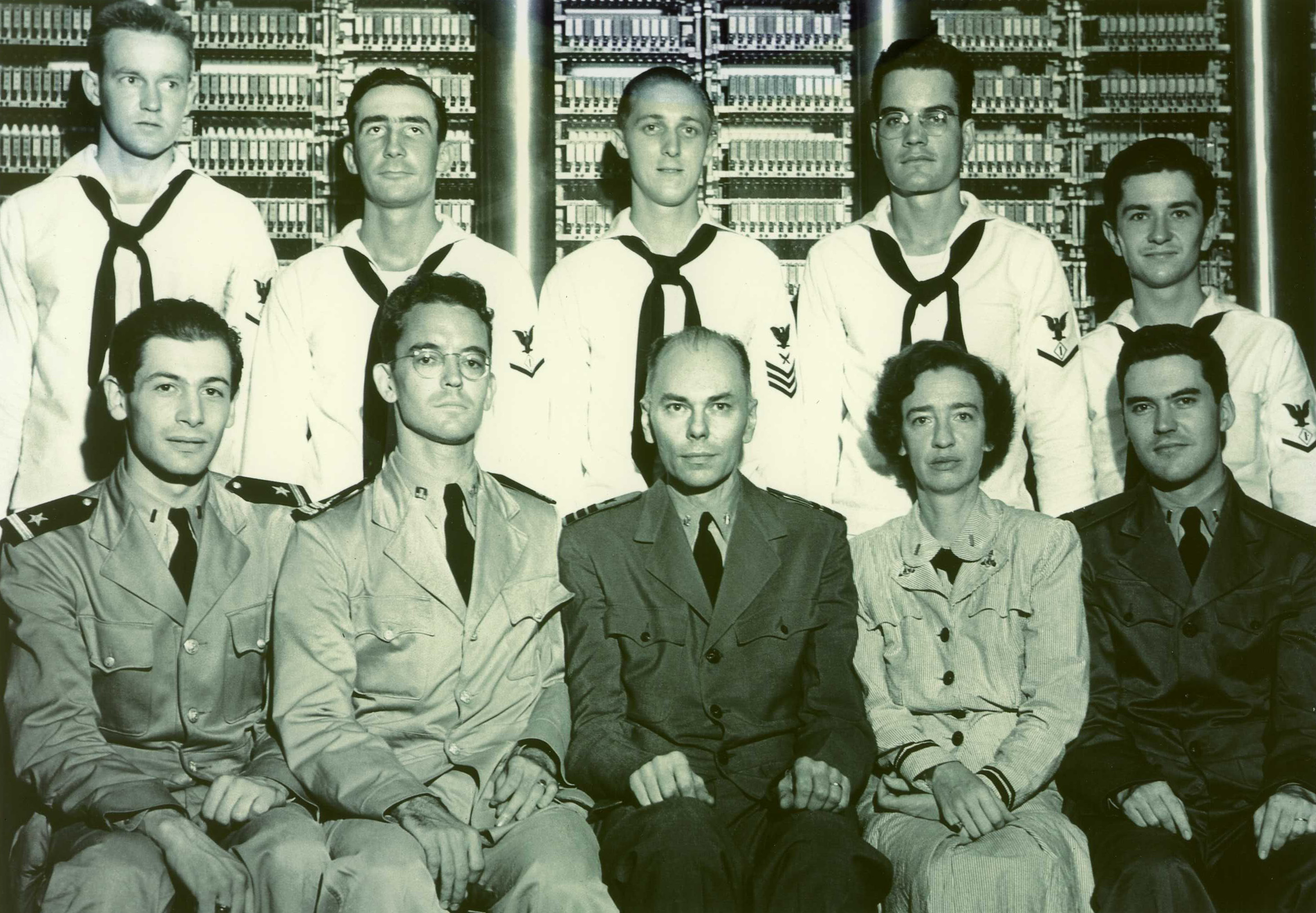 Grace Hopper and Cruft Research Lab colleagues in front of the Mark I during World War II.