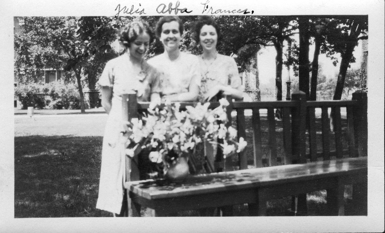 A photograph of University of Chicago Mathematics Graduate students Julia Bower, Abba Newton, and Frances Baker in 1933.