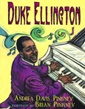Front cover of The Piano Prince, Ellington in a purple suit at a piano