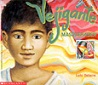 Front cover of the book Vejigante Masquerader, a swirling background of pinks and yellows with a young boys face in the middle.
