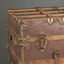 Close Up of a leather and paper trunk