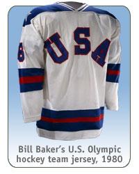 Bill Baker's U.S. Olympic hockey team jersey, 1980