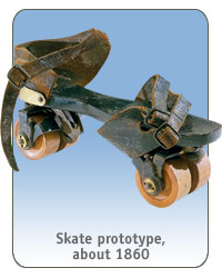 Skate prototype, about 1860