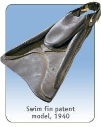 Swim fin patent model, 1940
