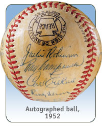 Autographed ball, 1952